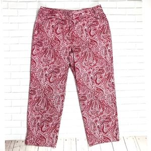 🌸 TALBOTS Curvy Cropped Red Paisley Capris Pants